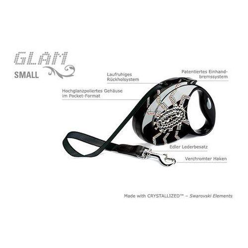 W Mega Flexi Glam Small S czarna smycz automatyczna taśma z kryształkami PF39